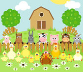 Farm background with animals — Stock Vector