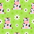 Seamless background cartoon with cow — Stock Vector