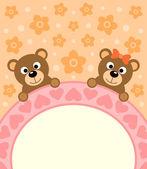 Cartoon background card with bears — Stock Vector