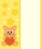 Background with cartoon cat — Vetor de Stock