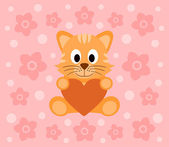 Background with cat cartoon — Stock Vector