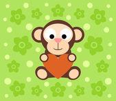 Background with monkey cartoon — Stockvektor