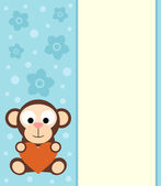 Background with cartoon monkey — Stock Vector