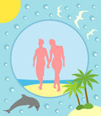 Summer background with boy and girl — Stock Vector