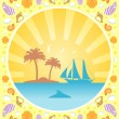 Background summer  with yacht — Stock Vector