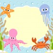 Sea animals cartoon background — Stock Vector