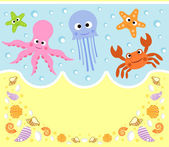 Sea animals cartoon background — Stock Vector