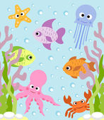 Background with sea animals — Stock Vector