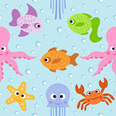 Background seamless with sea animals — Stock Vector