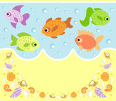 Sea animals cartoon background with fish — Stock Vector