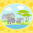 Stock Vector: Safari background with elephants