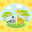 Safari background with zebra and giraffe — Stock Vector