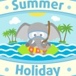 Summer sea background with elephant — Stock Vector #27509957