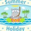Stock Vector: Summer sebackground with hippopotamus