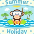 Summer sebackground with monkey — Stock Vector #27509995