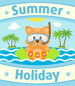 Summer sea background with cat — Stock Vector