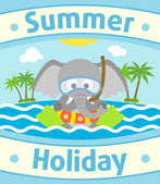 Summer sea background with elephant — Stock Vector