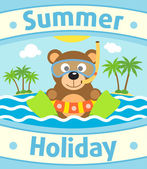 Summer sea background with bear — Stock Vector