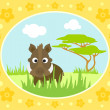 Safari background with boar — Vettoriali Stock