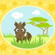 Safari background with boar — 图库矢量图片
