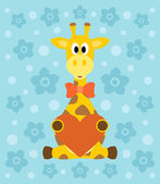 Background with giraffe cartoon — Stock Vector