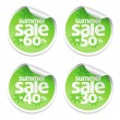 Vector de stock : Sale green stickers