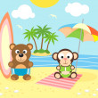 Summer background with bear and monkey on the beach — Stock Vector