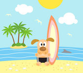 Summer background with dog surfer — Stock Vector