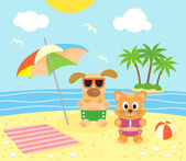 Summer background with cat and dog on the beach — Stock Vector
