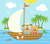 Summer background with dog and cat on a boat — Stock Vector