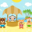 Summer background with animals on the beach — Stock Vector
