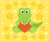 Background with crocodile cartoon — Stock Vector