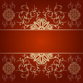 Baroque flowers vector background red — Stock Vector