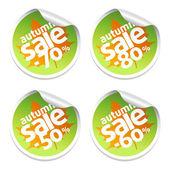 Autumn set sale stickers — Stock Vector