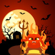 Halloween background with Devil — Stock Vector