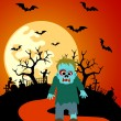 Halloween background with Zombie — Stock Vector