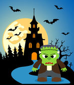 Halloween background with Frankenstein — Stock Vector