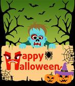 Halloween background with Zombie vector — Stock Vector
