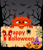 Halloween background with Devil vector — Stock Vector