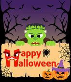 Halloween background with Frankenstein vector — Stock Vector