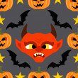 Seamless  halloween background with Devil — Stock Vector