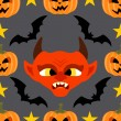 Seamless  halloween background with Devil — Imagen vectorial