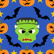 Seamless  halloween background with Frankenstein — Stock Vector