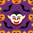 Seamless  halloween background with Dracula — Stockvektor