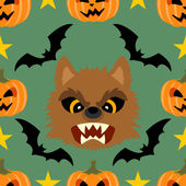 Seamless halloween background with Werewolf — Stock Vector
