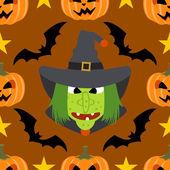 Fondo transparente halloween con brujas — Vector de stock