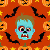Seamless halloween background with Zombie — Stock Vector