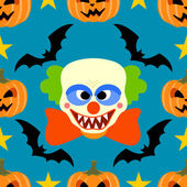 Seamless halloween background with Clown — Stock Vector
