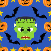 Seamless halloween background with Frankenstein — Stock Vector