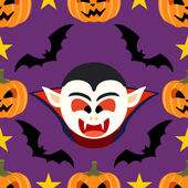 Seamless halloween background with Dracula — ストックベクタ